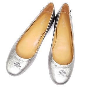 COACH chelsea silver ballet flats sz8